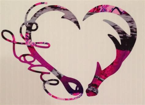 love antler fishing hook heart decal 5 quot camo hunting