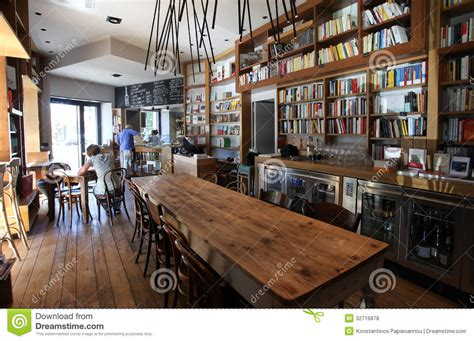 Blue Interior Design by Coffee Bar And Bookcase In Rome Editorial Stock Photo