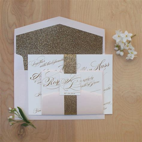 Wedding Invitations Belly Band by Items Similar To Glitter Wedding Invitation Gold And