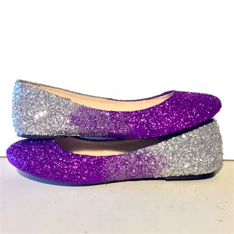 Silver Glitter Flats Wedding by S Sparkly Purple Silver Ombre Glitter Ballet Flats