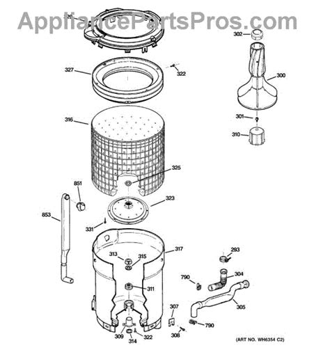 hotpoint washing machine parts diagram parts for ge whdsr209g9ww tub basket agitator parts