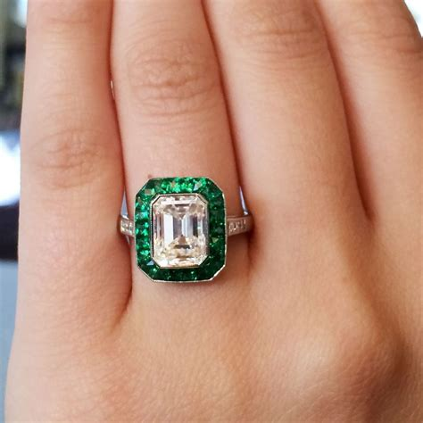 Emerald Engagement Rings by Platinum 2 51ct Emerald Cut Emerald Halo