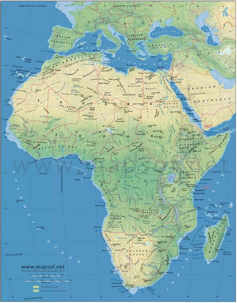physical maps of africa africa physical map 1 mapsof net