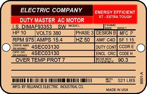 induction motor nameplate data motor nameplate caferacer 1firts