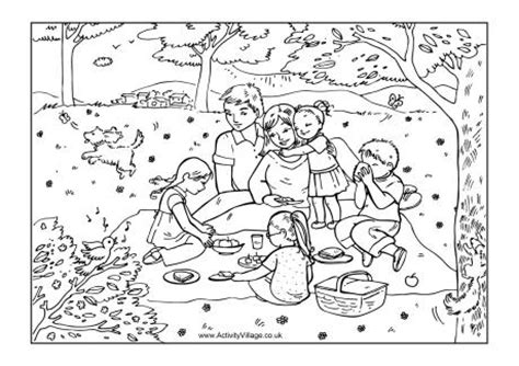 coloring pages of family picnic family picnic colouring page