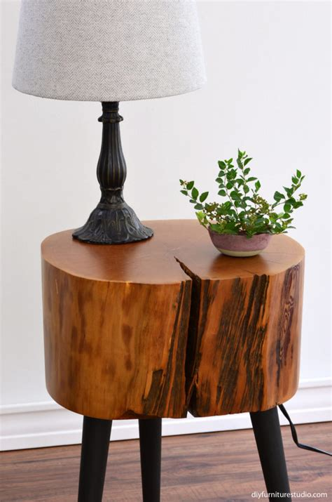 diy mid century table legs tree stump side table with mix and match diy leg options diy furniture studio