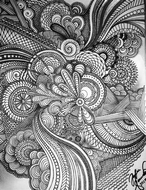 rhythmic pattern drawing zentangle combination with varieties of volume textures