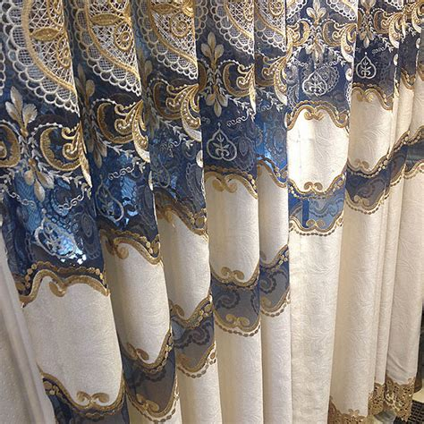 Blue And Gold Valance Classical Light Gold Royal Blue Lace Chenille Curtains