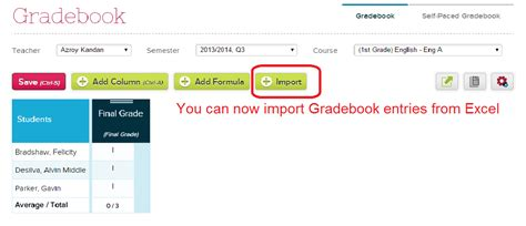 Book Import importing exporting gradebook data school management
