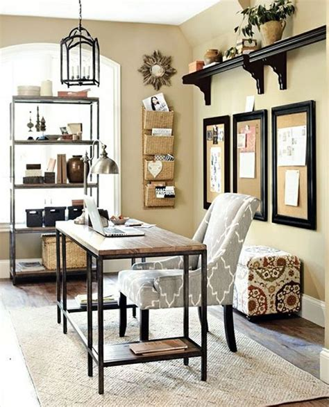 decorating a home office beige wall color with antique wrought iron chandelier and