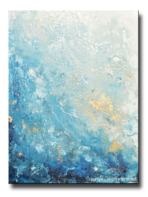 blue and white painting original modern blue abstract painting navy white grey