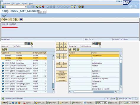 Sap Credit Management Formula Transformation Formula In Sap Bi Sap Bi Learning