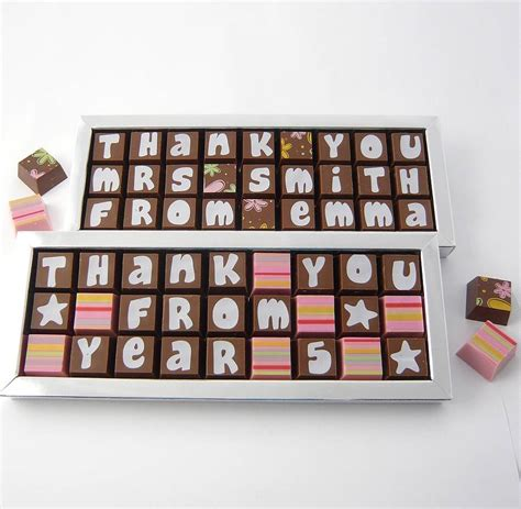 thank you letter chocolate gift personalised thank you gift in chocolate by