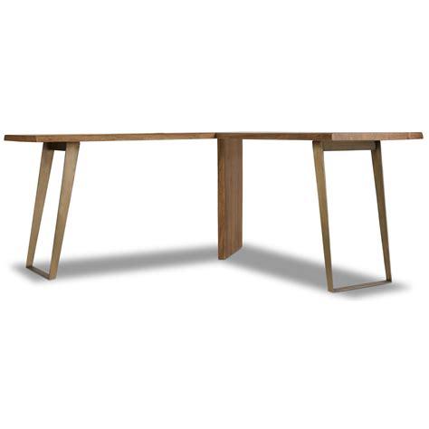 metal desk l hooker furniture transcend l desk with plated metal base