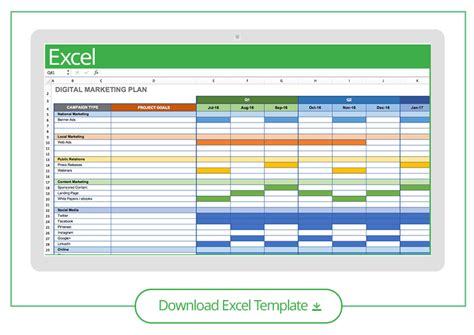 Free Marketing Plan Templates For Excel Smartsheet Digital Marketing Plan Template Excel