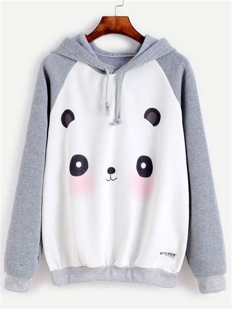 Sweater Hoodie Owsla Best Clothing contrast panda print raglan sleeve hooded sweatshirtfor romwe