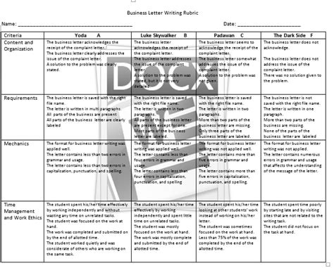 Business Letter Rubric Pdf business letter rubric 28 images rubric for business