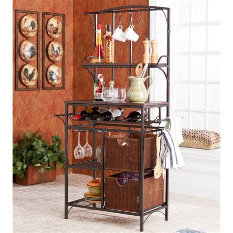Bakers Racks With Wine Storage by Bakers Rack With Wine Storage Metal Racks For Home