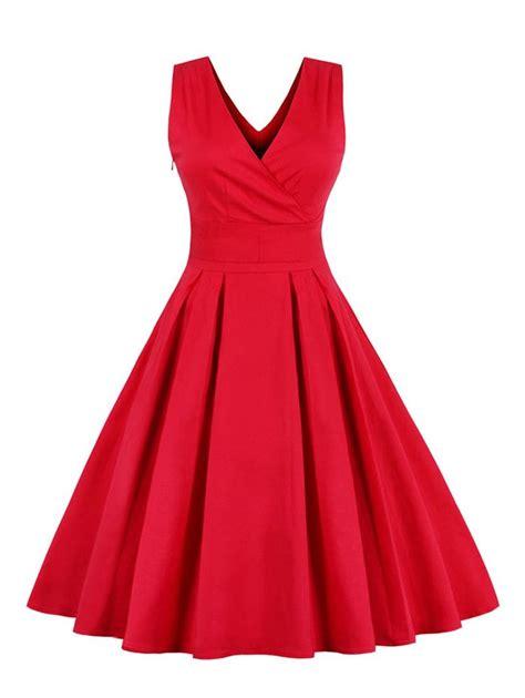vintage dresses retro back bowtie midi sleeveless