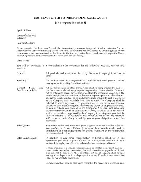 Offer Letter Validity Sle Usa Contract Offer Letter To Independent Sales