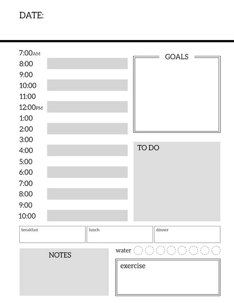 printable daily planner daily planner printable template sheets paper trail design