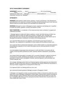 artist manager contract template 10 best images of business management agreement sle