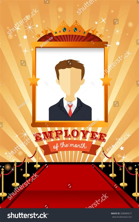 employee of the month poster template vector illustration employee month poster frame stock