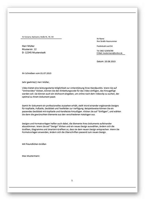 Word Vorlage Brief Professionelle Word Briefvorlage Mit Steuerelementen Zum