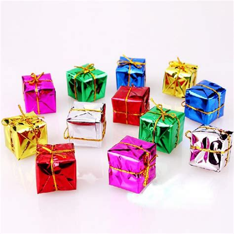christmas tree decorations gift boxes 12 pcs lot ornament colorful mini gift box tree pendant new year ornaments