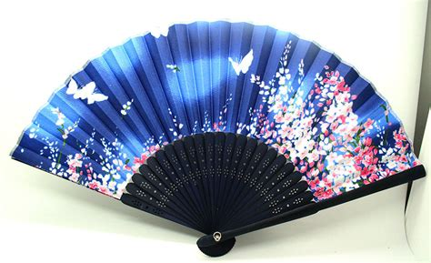 japanese silk fans japanese folding blue butterfly silk flower
