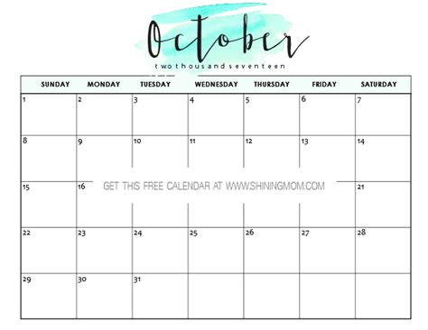 Calendar 2017 Template October Free Printable October 2017 Calendar 12 Awesome Designs