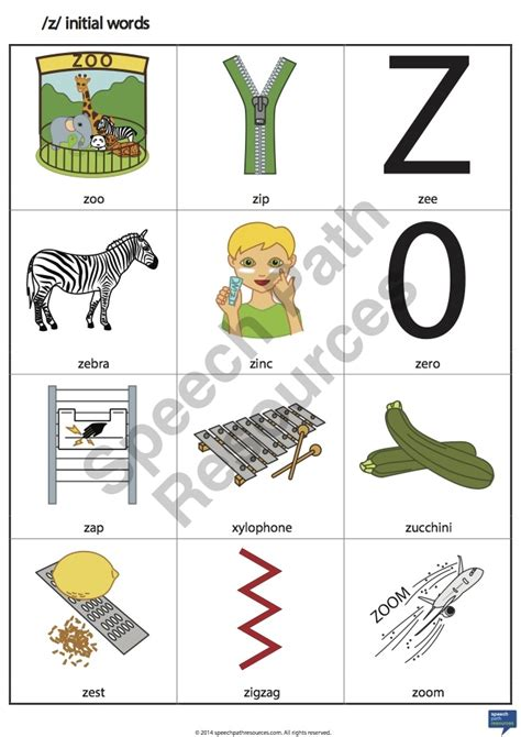 words with the letter z z initial words speech path resources 1743