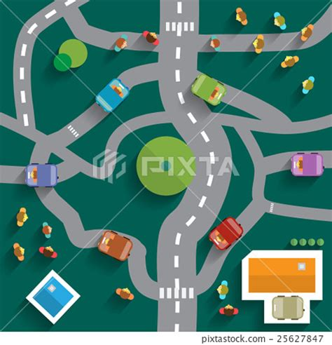 best view map top view city map abstract town flat design 스톡일러스트