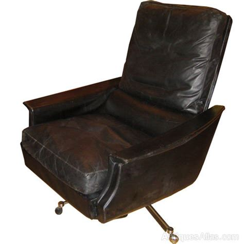 Leather Reclining Swivel Chair by Antiques Atlas Black Leather Reclining Swivel