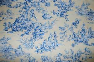 Shower Curtain Cotton Soft Yellow And Blue Toile Fabric Traditional Toile Fabric