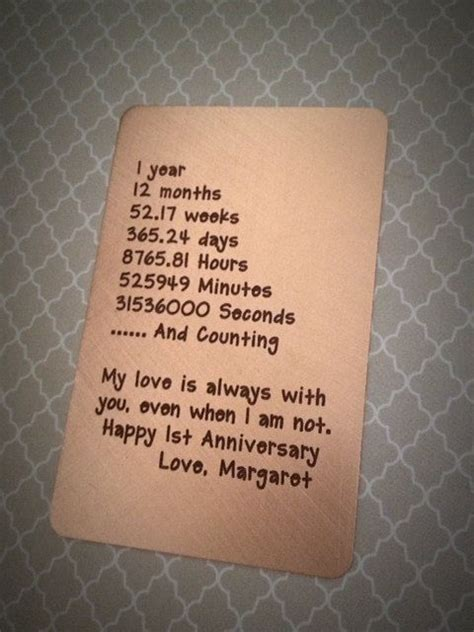 copper wallet card insert engraved wallet card 1st anniversary gift wallet insert card s