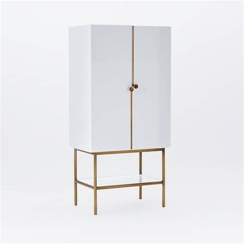 White Bar Cabinet Downing Bar Cabinet White Antique Brass West Elm