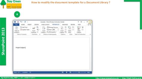 sharepoint 2013 document template how to modify the document template for a document library