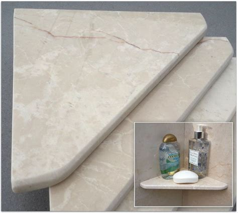 8 quot marble shower corner shelf marfil cream stone bathroom caddy soap dish ebay