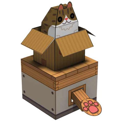 Moving Papercraft - box cat papercraft paperkraft net free
