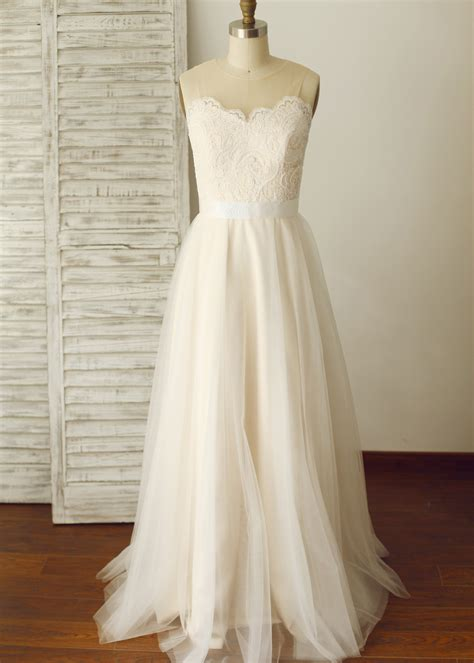 Chagne Wedding Dress by Pearl Back Wedding Dress Chagne Lace Tulle Pearl Buttons