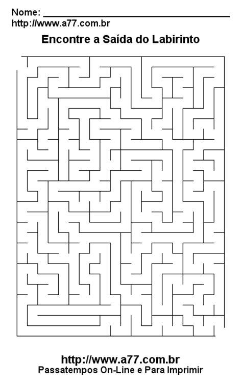 Labirinto Para Imprimir: Passatempo Grátis.