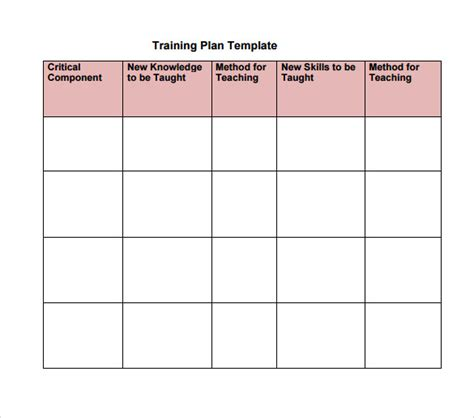 training calendar template training plan template exle