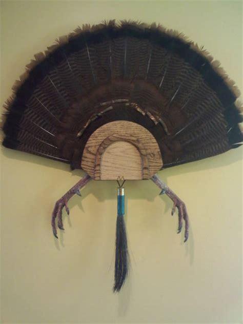 diy turkey fan mount turkey fan mount with the plaque shaped like a call