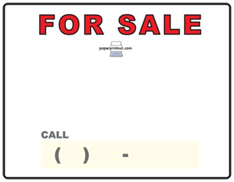 template for sale free car for sale sign to print