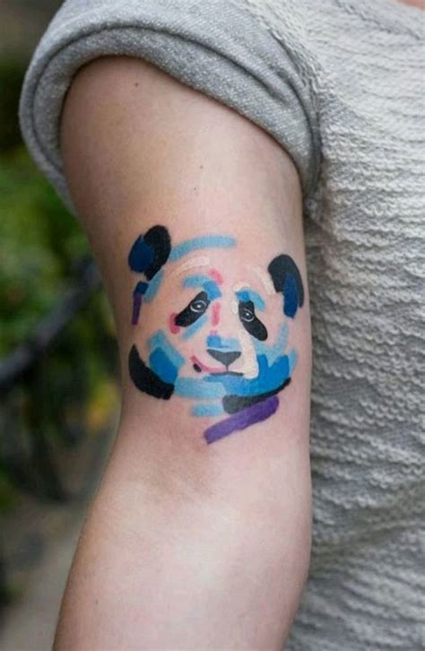panda tattoos irrestible watercolor panda on front shoulder