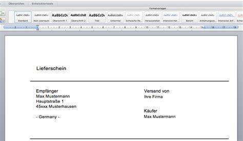 Word Vorlage Lieferschein Autofreund24