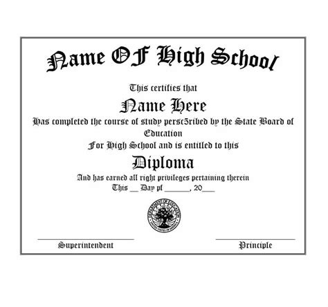 30 Real Fake Diploma Templates High School College Homeschool Free Printable Diploma Template