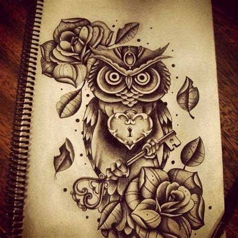 owl tattoo with key meaning owl key tattoo sketchbook pinterest