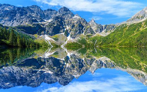 wallpaper  tatra mountains lake water